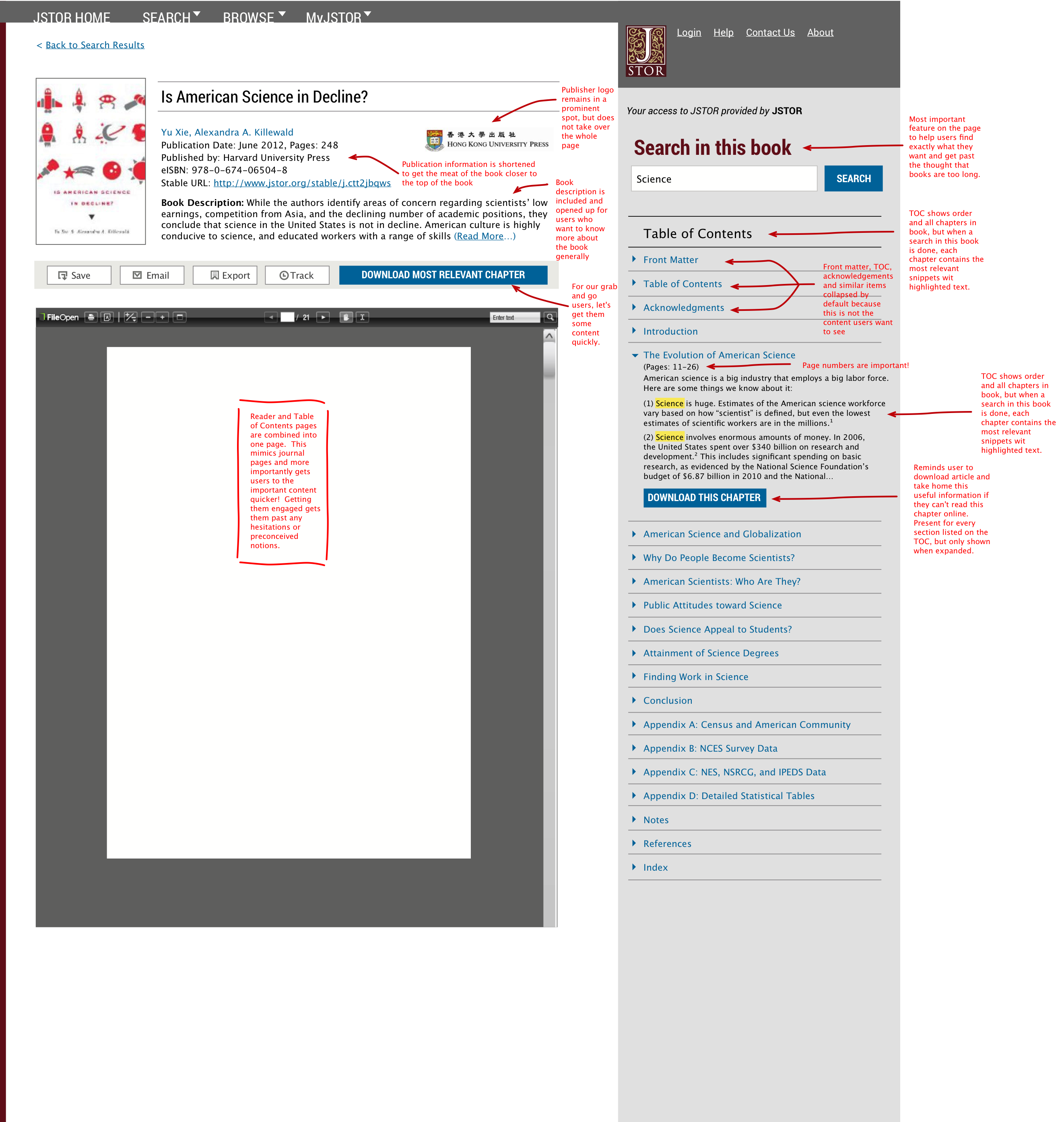 Mockup for presenting books on JSTOR (in collaboration with visual design)